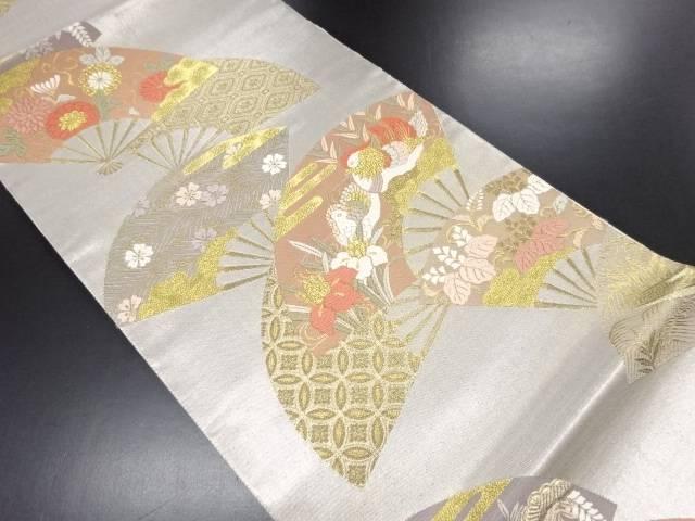 【IDN】 未使用品 金銀糸扇面に鴛鴦・菖蒲・菊・桐模様織り出し袋帯【リサイクル】【着】