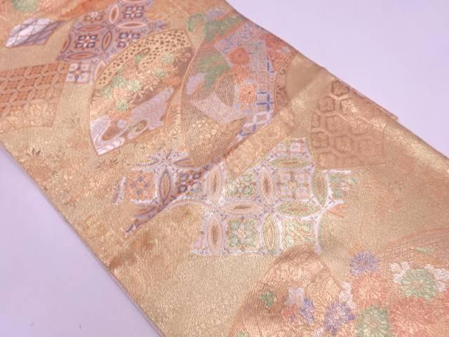【30%OFF】【IDN】 地紙に草花・古典柄模様織出し袋帯【リサイクル】【中古】【着】