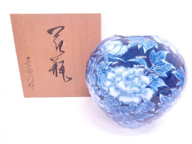 【IDN】 有田焼 文右衛門造 手描きローケツ牡丹花瓶【中古】【道】