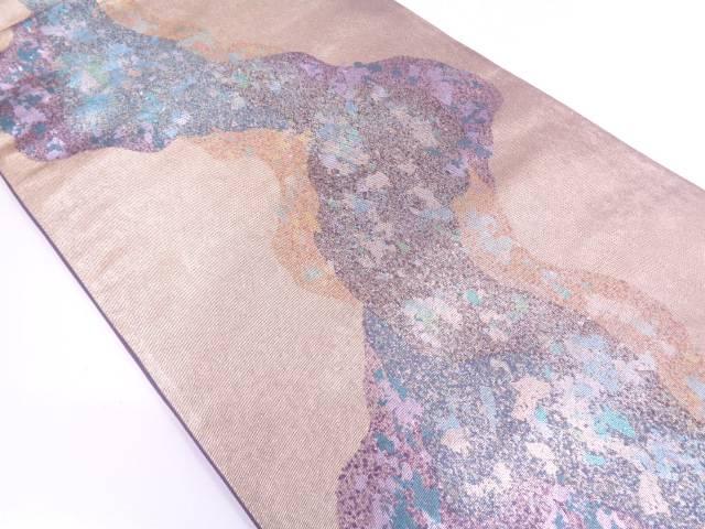 【IDN】 引き箔金彩抽象花模様袋帯【リサイクル】【中古】【着】