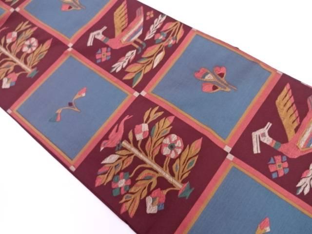 【IDN】 市松に花鳥模様織出し袋帯 【リサイクル】【中古】【着】
