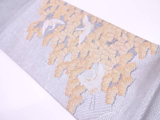 【IDN】 綴れ笠松に鶴模様織出し袋帯【リサイクル】【中古】【着】