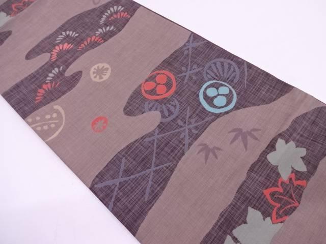 【IDN】 霞に松・紅葉模様織出し袋帯【リサイクル】【中古】【着】