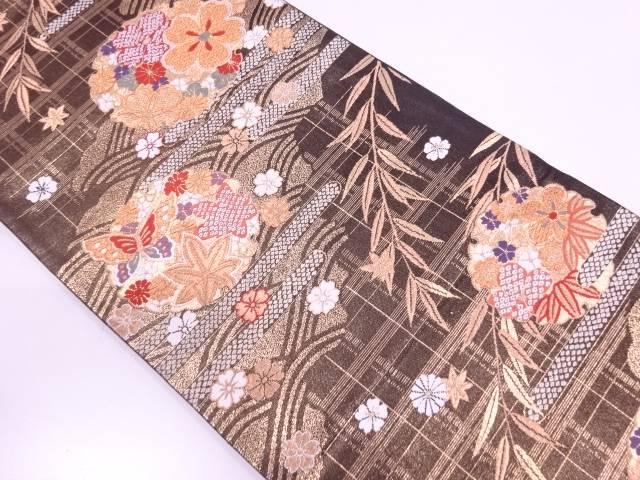 【IDN】 雪輪に花・蝶模様織出し袋帯【リサイクル】【中古】【着】