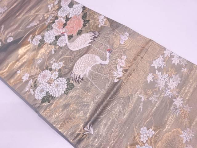 【IDN】 二拾四金二重織鶴に草花模様織出し袋帯【リサイクル】【中古】【着】