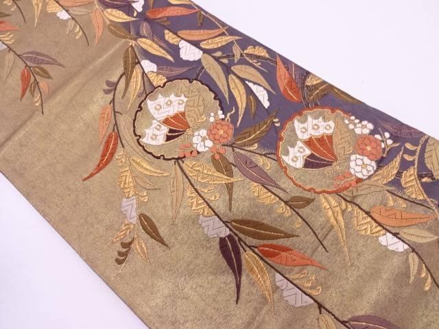 【IDN】 唐織雪輪に蝶・笹模様織出し袋帯【リサイクル】【中古】【着】
