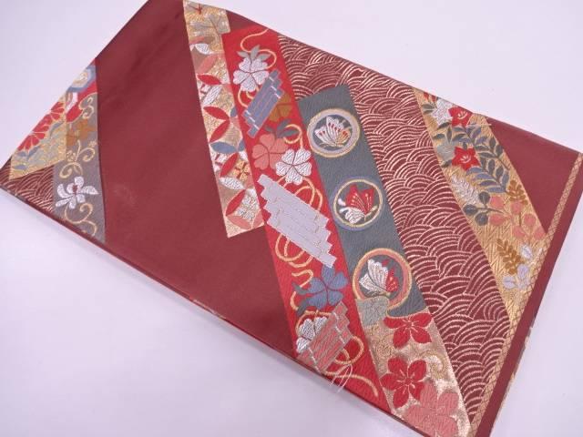 【IDN】 未使用品 短冊に花筏・蝶模様織出し袋帯【リサイクル】【着】