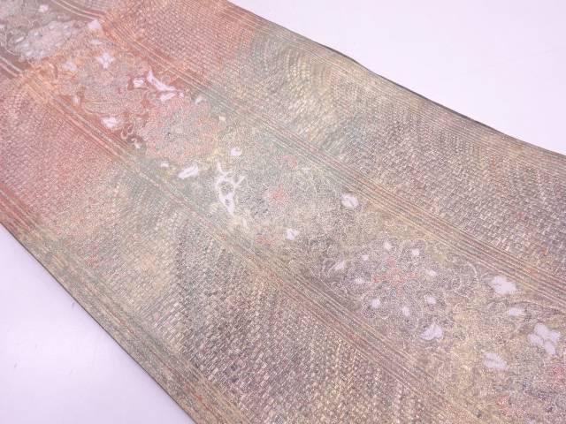 【IDN】 引き箔縞に草花模様織出し袋帯【リサイクル】【中古】【着】