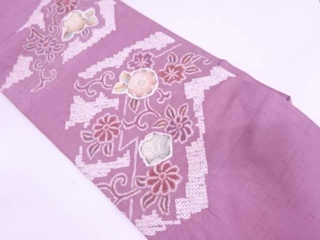 【IDN】 手織り紬絞り草花模様名古屋帯【リサイクル】【中古】【着】