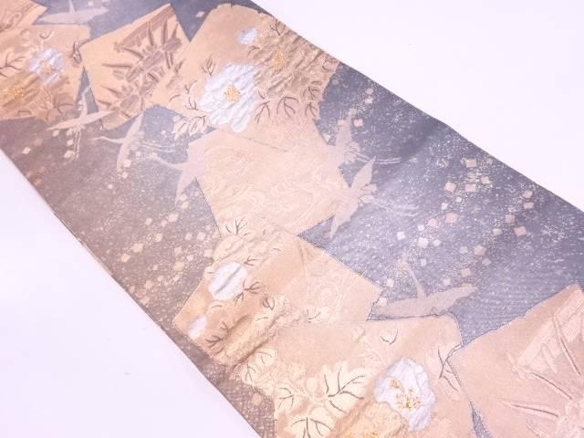 【IDN】 ふくれ織破れ色紙に鶴・草花模様織出し袋帯【リサイクル】【中古】【着】