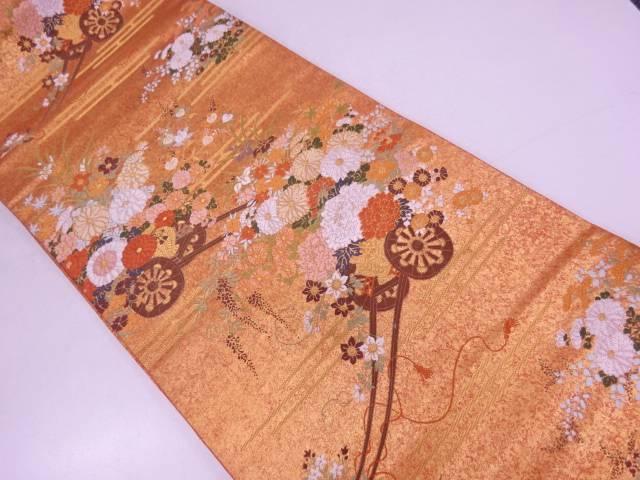 【IDN】 ヱ霞に花車模様織出し袋帯【リサイクル】【中古】【着】
