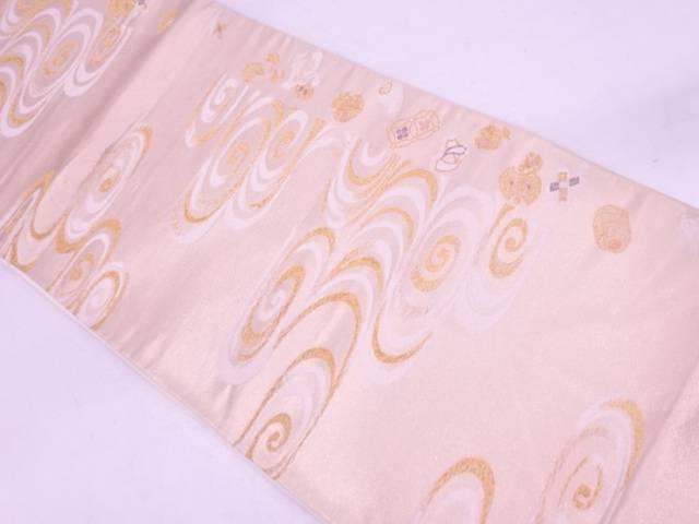 【IDN】 観世水に宝づくし模様織出し袋帯【リサイクル】【中古】【着】
