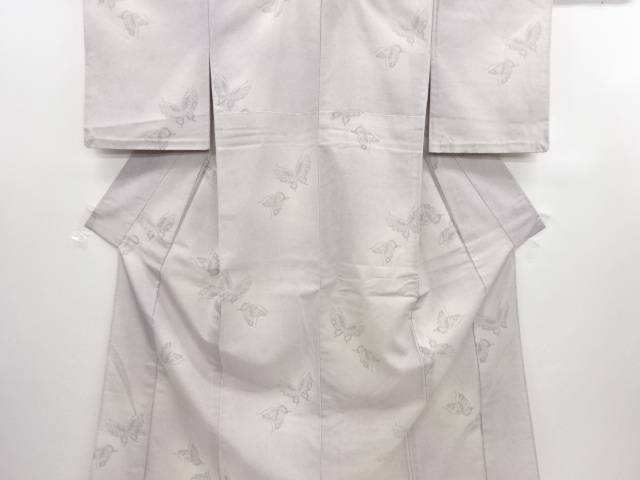 【IDN】 蝶模様織り出し本塩沢単衣着物【リサイクル】【中古】【着】
