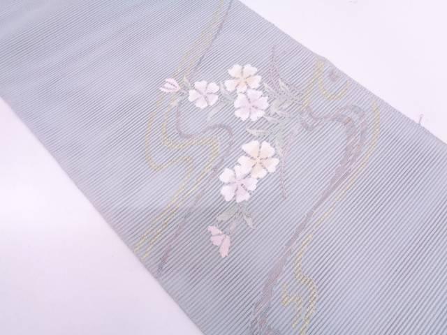 【IDN】 絽綴れ流水に草花模様織出し袋帯【リサイクル】【中古】【着】