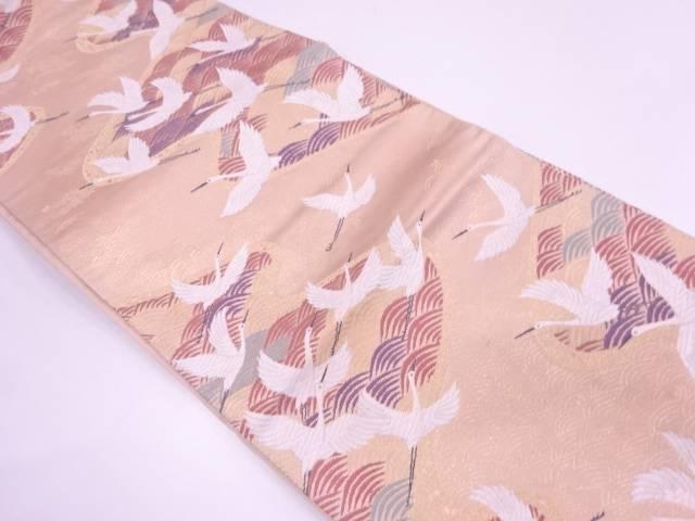 【IDN】 波に群鶴模様織出し袋帯【リサイクル】【中古】【着】