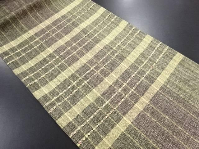 【IDN】 未使用品 本金変わり織格子織り出し袋帯【リサイクル】【着】