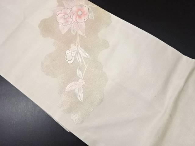 【IDN】 未使用品 金彩椿模様刺繍名古屋帯【リサイクル】【着】