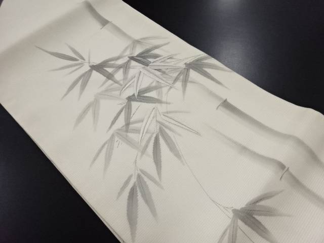 【IDN】 旭峯作 絽竹笹模様刺繍名古屋帯【リサイクル】【中古】【着】