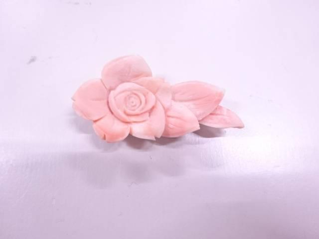 【IDN】 本珊瑚花帯留め(11.55グラム)【アンティーク】【中古】【着】