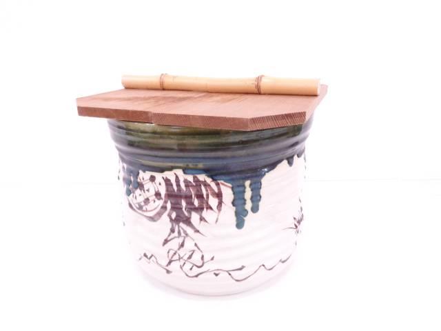 【IDN】 加藤景陶造 織部水屋瓶【中古】【道】