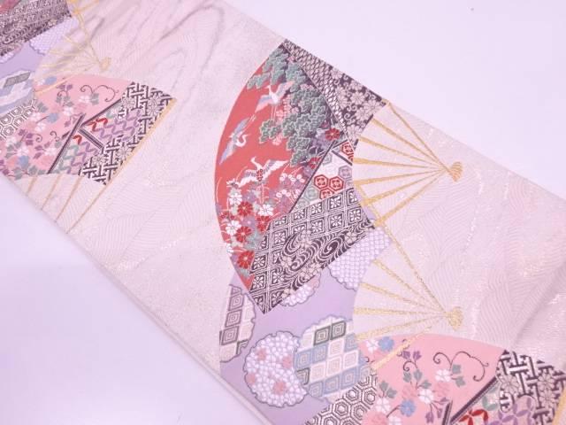 【IDN】 扇面に花鳥模様織出し袋帯【リサイクル】【中古】【着】