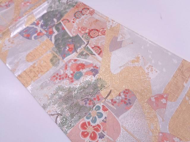 【IDN】 未使用品 衣桁に松竹梅・草花模様織出し袋帯【リサイクル】【着】