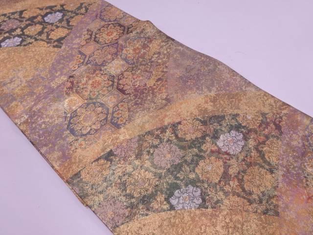 【IDN】 引箔草花に古典柄模様織出し袋帯【リサイクル】【中古】【着】