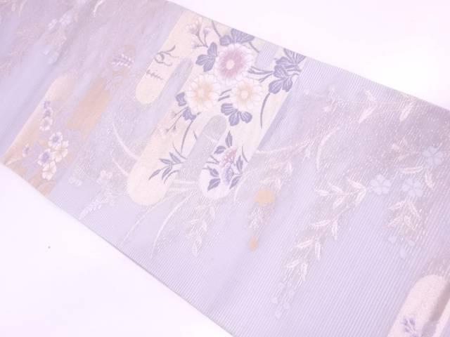 【30%OFF】【IDN】 絽紗ヱ霞に秋草模様織出し袋帯【リサイクル】【中古】【着】