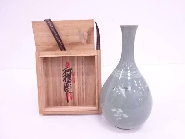 【IDN】 人間文化財柳海剛造 高麗青磁雲鶴花瓶【中古】【道】