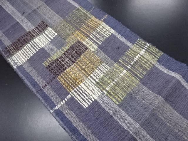 【IDN】 手織り真綿紬抽象模様織り出し名古屋帯【リサイクル】【中古】【着】