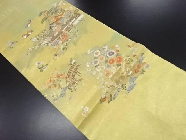 【IDN】 本金箔家屋に草花・鴛鴦模様織り出し袋帯【リサイクル】【中古】【着】