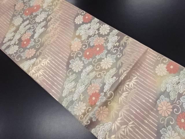 【IDN】 笠松に竹笹・菊唐草模様織り出し袋帯【リサイクル】【中古】【着】