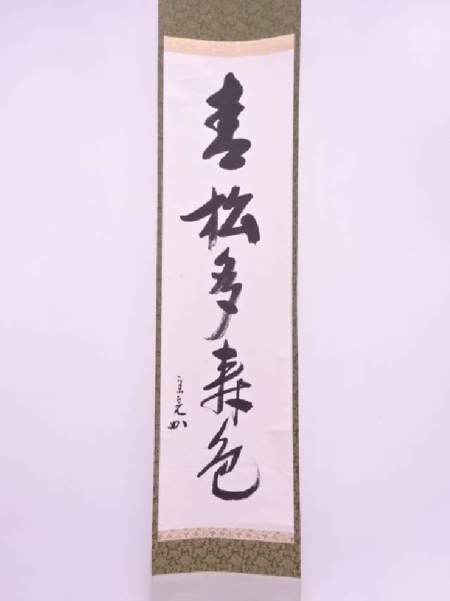 【IDN】 十二代兼中斎筆 「青松多寿色」 一行書 肉筆紙本掛軸(共箱)【中古】【道】