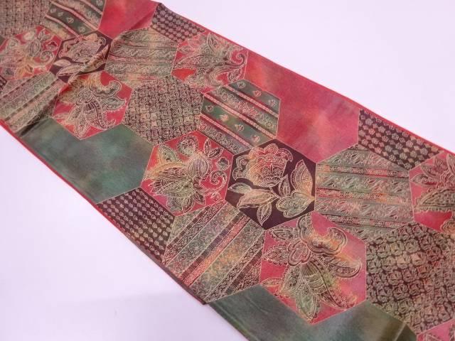 【IDN】 まいづる謹製 亀甲に草花模様織出し袋帯【リサイクル】【中古】【着】