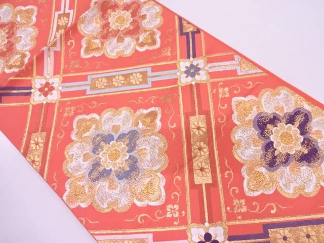 【IDN】 未使用品 AB 高島織物製 襷に花模様織出し袋帯(未仕立て)【リサイクル】【着】