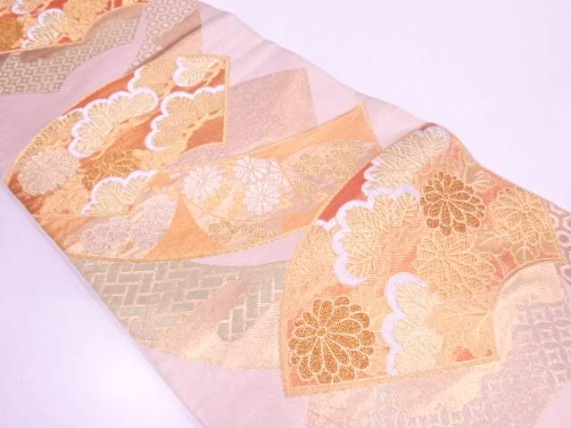 【IDN】 川島織物製 地紙に松・草花模様織出し袋帯【リサイクル】【中古】【着】