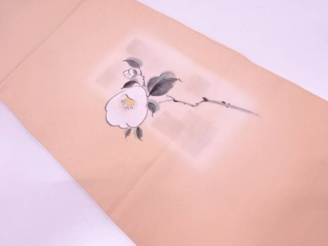 【IDN】 作家物 手描き椿模様開き名古屋帯【リサイクル】【中古】【着】