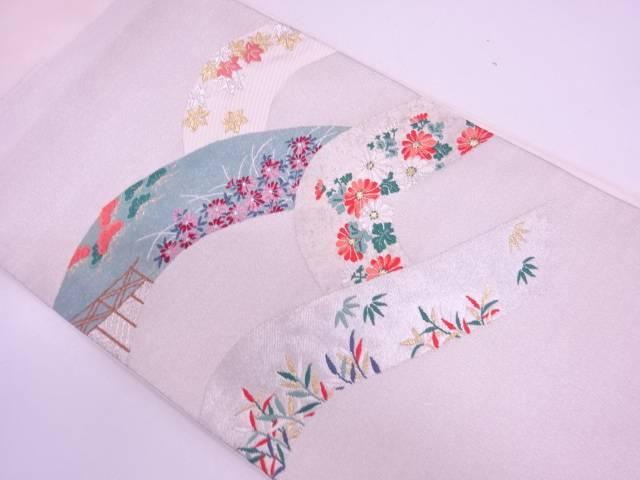 【IDN】 未使用品 山並みに松・草花模様織出し袋帯 【リサイクル】【着】
