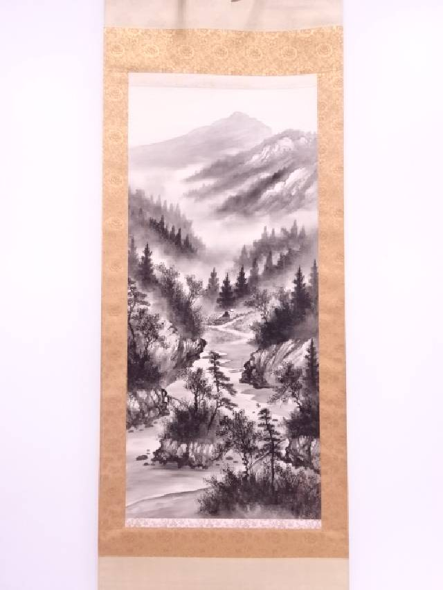 【IDN】 日本画 玉峰筆 水墨山水 肉筆絹本掛軸(共箱)【中古】【道】