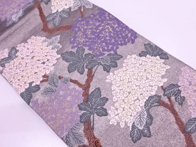 【IDN】 唐織兆寿尽くし・紫陽花模様織出し袋帯【リサイクル】【中古】【着】