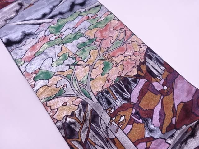 【IDN】 樹木風景模様織出し袋帯【リサイクル】【中古】【着】