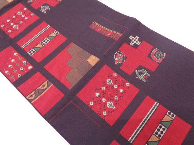 【IDN】 木屋太製 抽象樹木模様織出し袋帯【リサイクル】【中古】【着】
