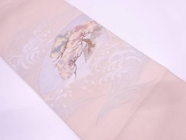 【IDN】 綴れ荒波に地紙・松模様織出し袋帯【リサイクル】【中古】【着】