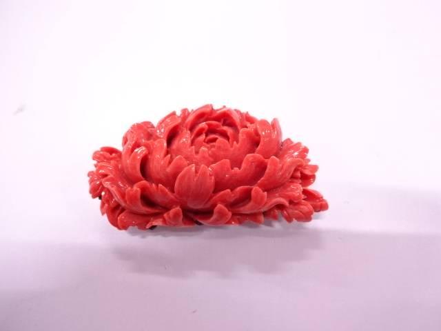 【IDN】 本珊瑚牡丹帯留め(20.7グラム)【アンティーク】【中古】【着】