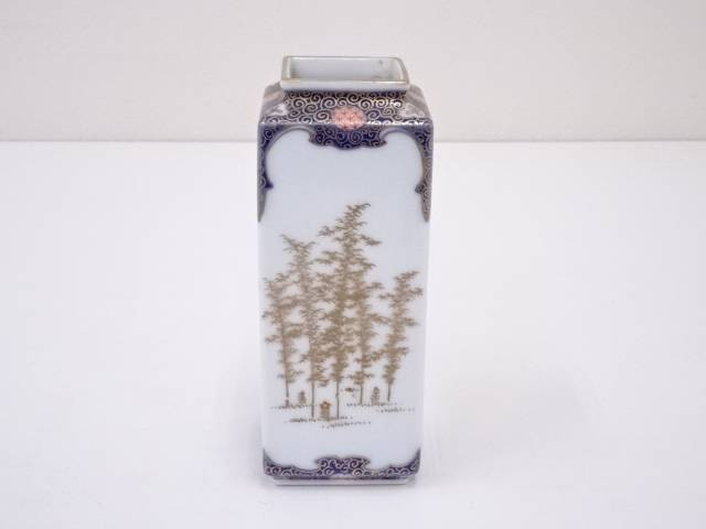 【IDN】 オールド深川 竹林画角花瓶【中古】【道】