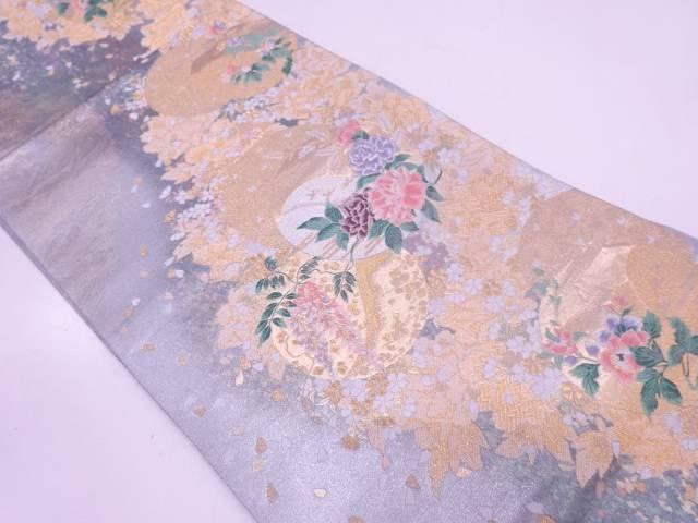 【IDN】 未使用品 引箔牡丹に小花・藤模様織出し袋帯【リサイクル】【着】