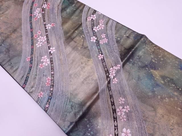 【IDN】 未使用品 引箔流水に桜模様織出し袋帯【リサイクル】【着】