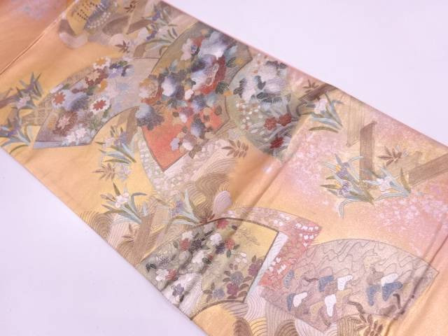 【IDN】 引き箔金彩螺鈿地紙に草花模様袋帯【リサイクル】【中古】【着】