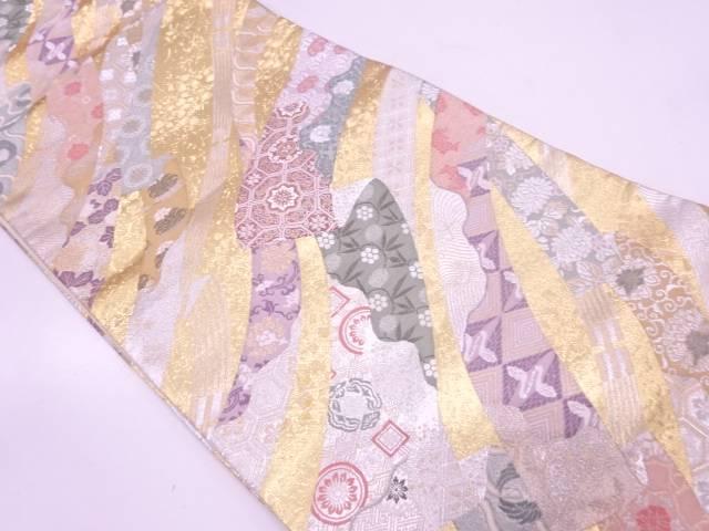 【IDN】 花に古典柄模様織出し袋帯【リサイクル】【中古】【着】