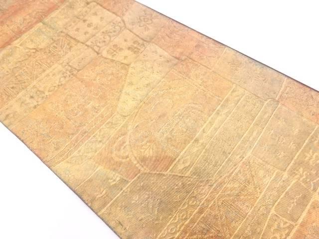 【IDN】 青銅箔抽象模様織出し袋帯【リサイクル】【中古】【着】